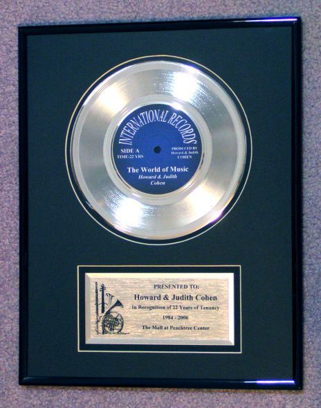 framed platinum record award